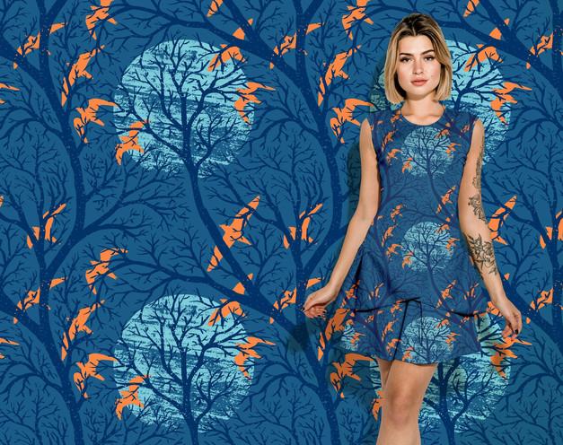 Blue Moon pattern on a dress