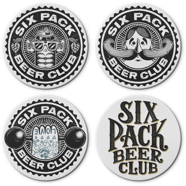 six-pack-beer-club-logo-badges-design-br