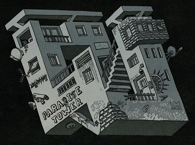 reduction linocut showing geometrical optical illusion of floating building