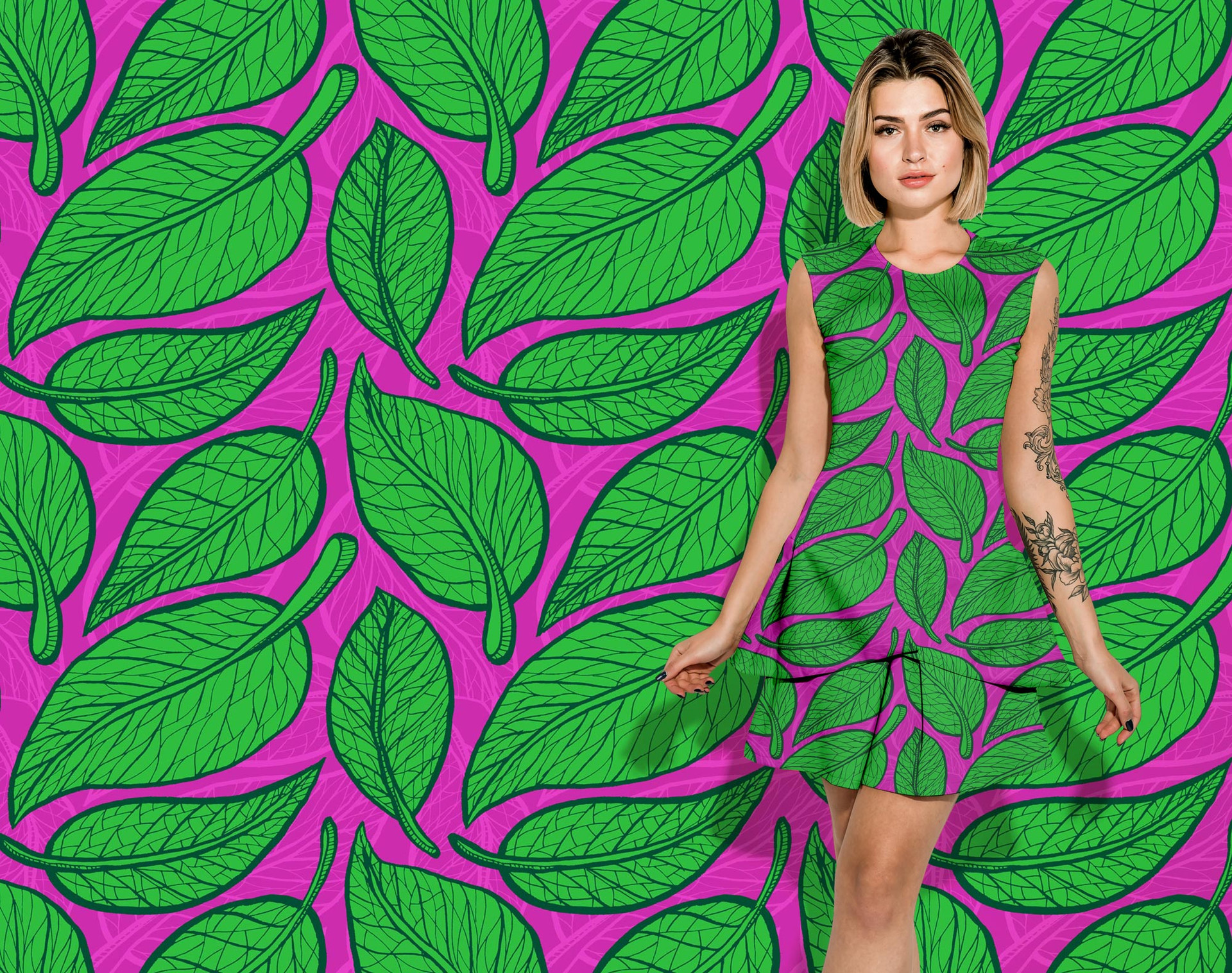 Green Leaves pattern on a dress