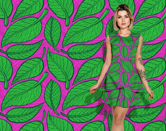Green Leaves pattern on a dress