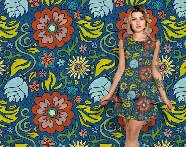 Blue Floral pattern on a dress