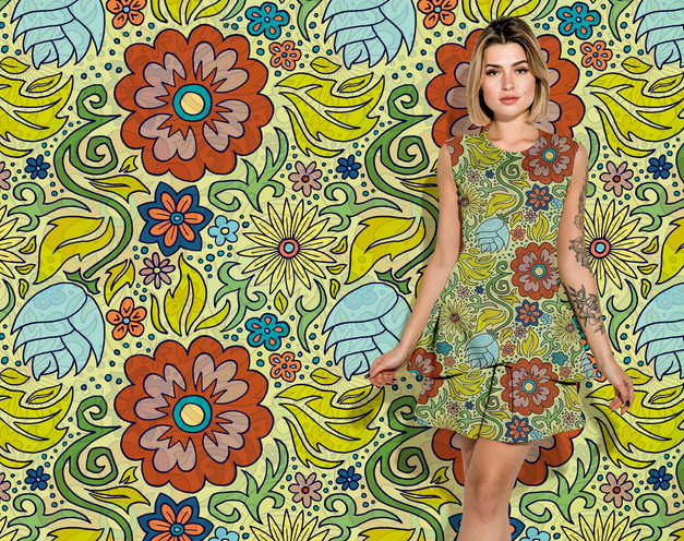 Yellow Floral pattern on a dress