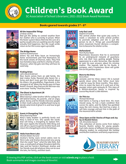 SC Book Award Nominees 2021-2022_Childre