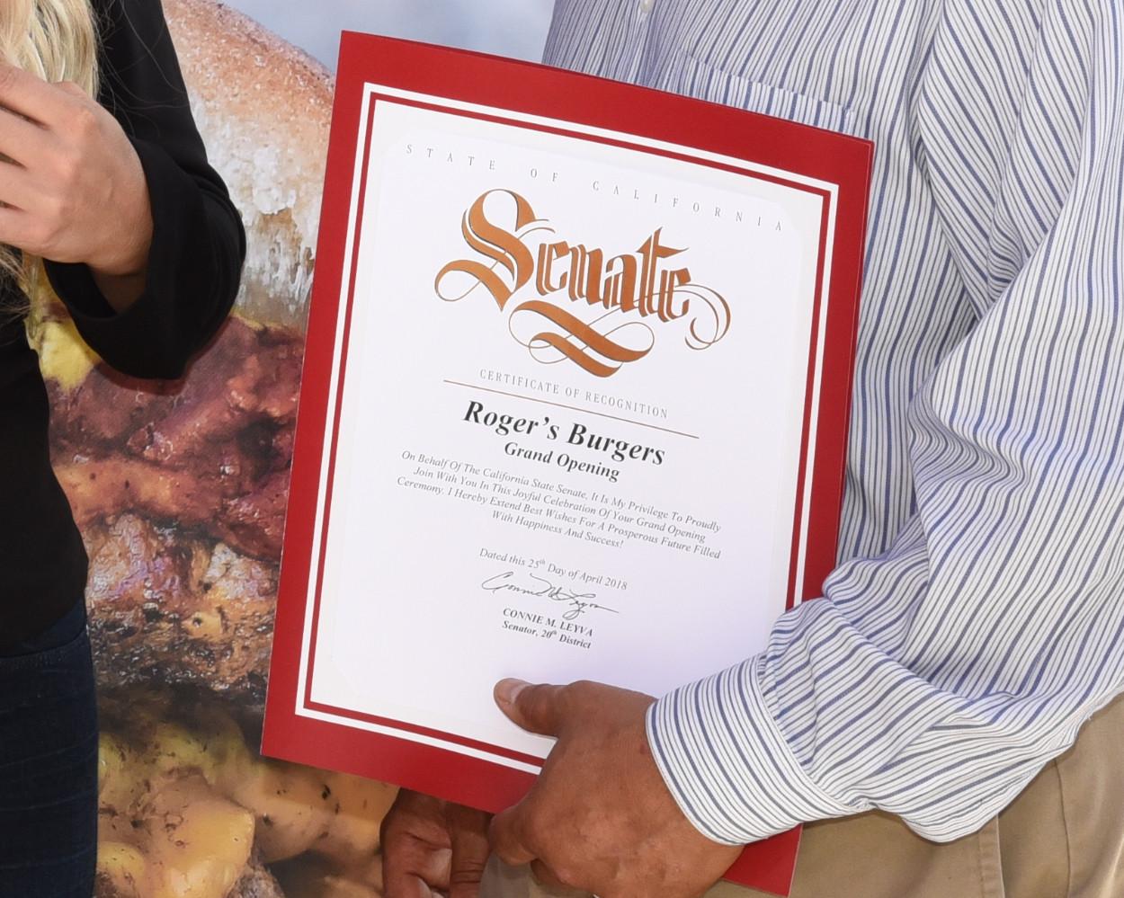 Roger's Burgers Senate Certificate