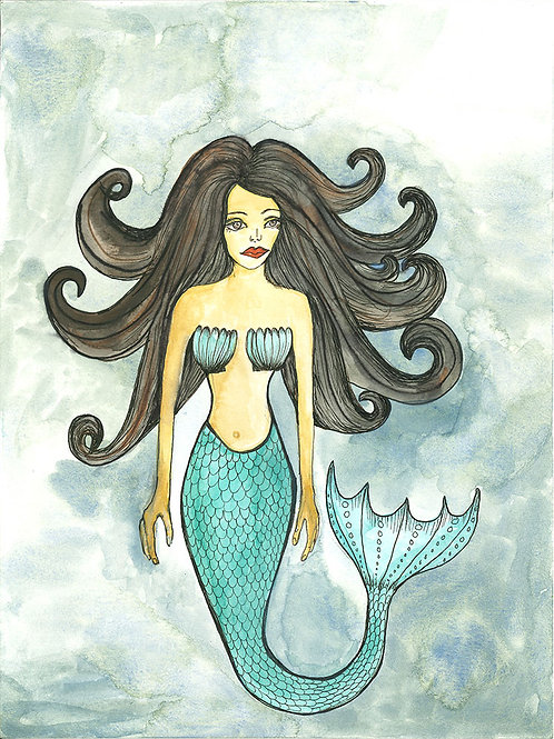 Dreamy Mermaid print on paper small