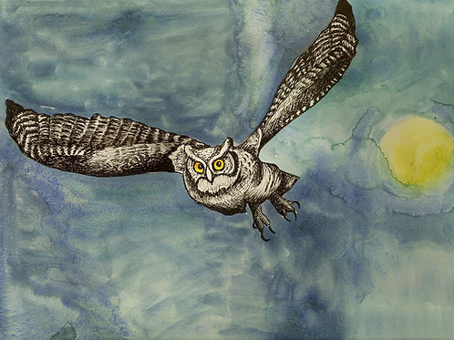 Night Owl Folded Note Card