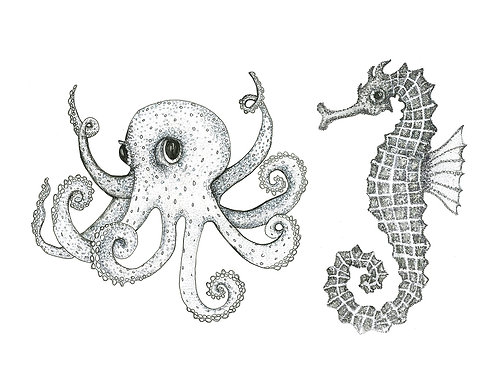Grey Series: Octopus Seahorse print on paper small