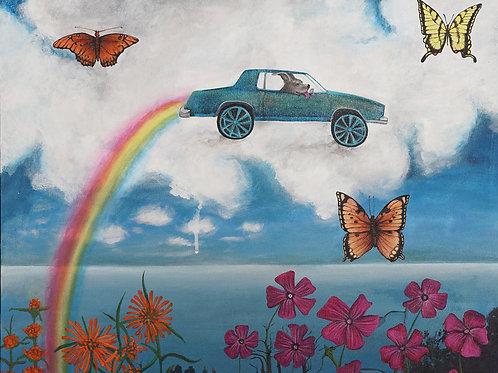 Making Rainbows print on canvas