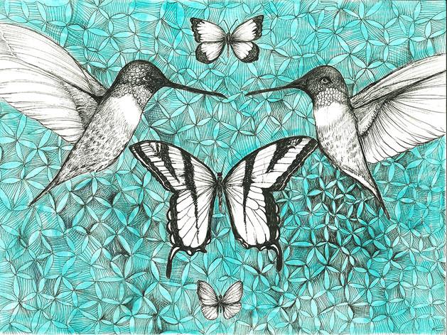 Blue Pollinator Series in Aqua