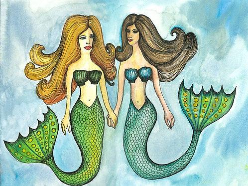 Mermaid Sisters Folded Note Card