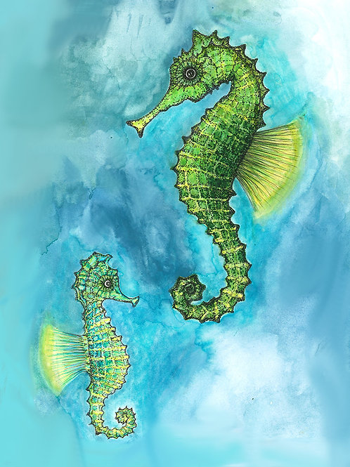 Seahorses Folded Note Card