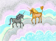 Unicorns and Blue Rainbow