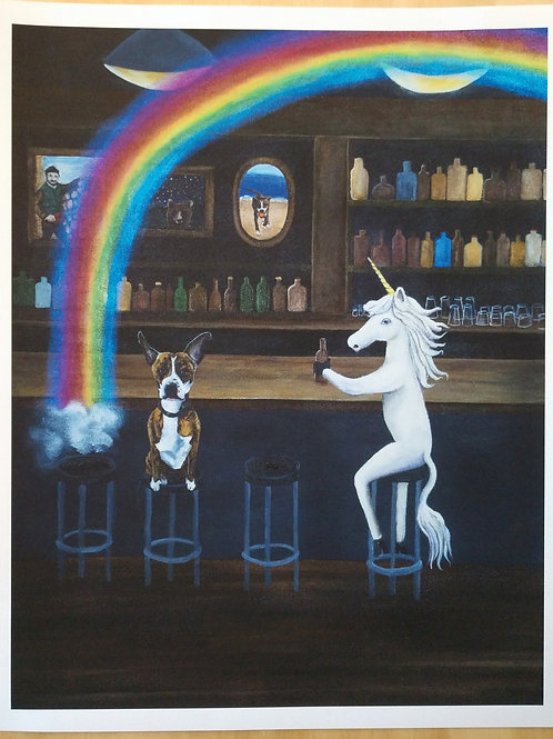 The Rainbow and Lulu bird print on paper