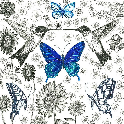 Blue Pollinator Series print on paper
