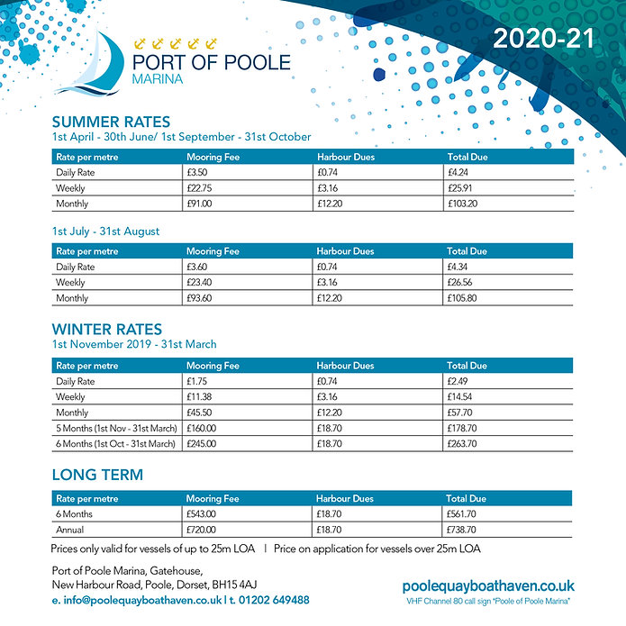 Poole Quay Boat Haven price List May 202