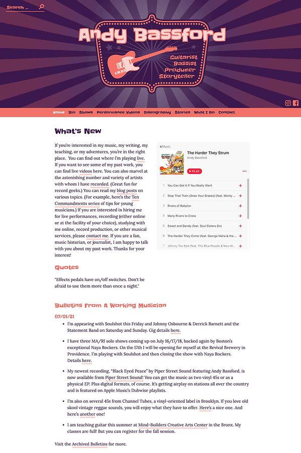 andy bassford homepage desktop