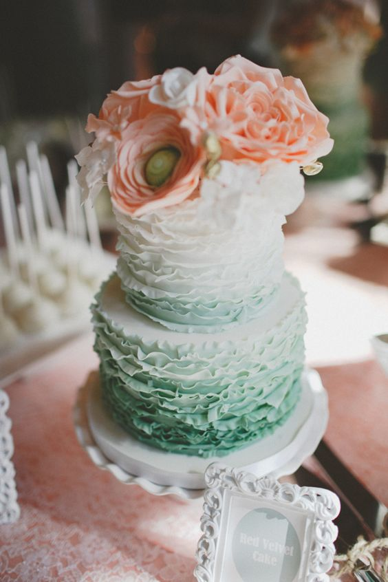 27-ruffle-ombre-mint-wedding-cake-topped-with-peach-flowers