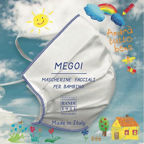 MEG01-BAMBINO- Kit da 10 mascherine in SMS TNT 100% polipropilene, triplo strato