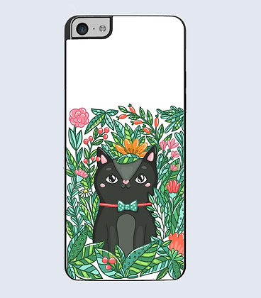 Coque mobile iphone fleur chat