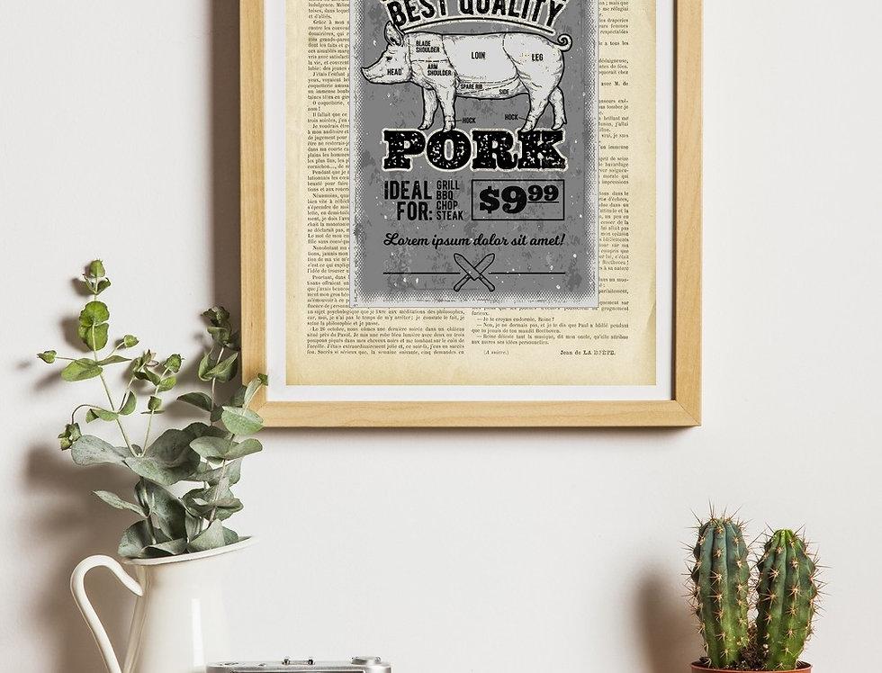 Affiche vintage citation pork