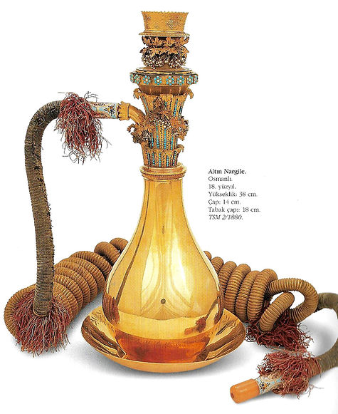 topkapı sarayı eserleri, altın nargile, osmanlı, Türk sanatı, altın eşyalar