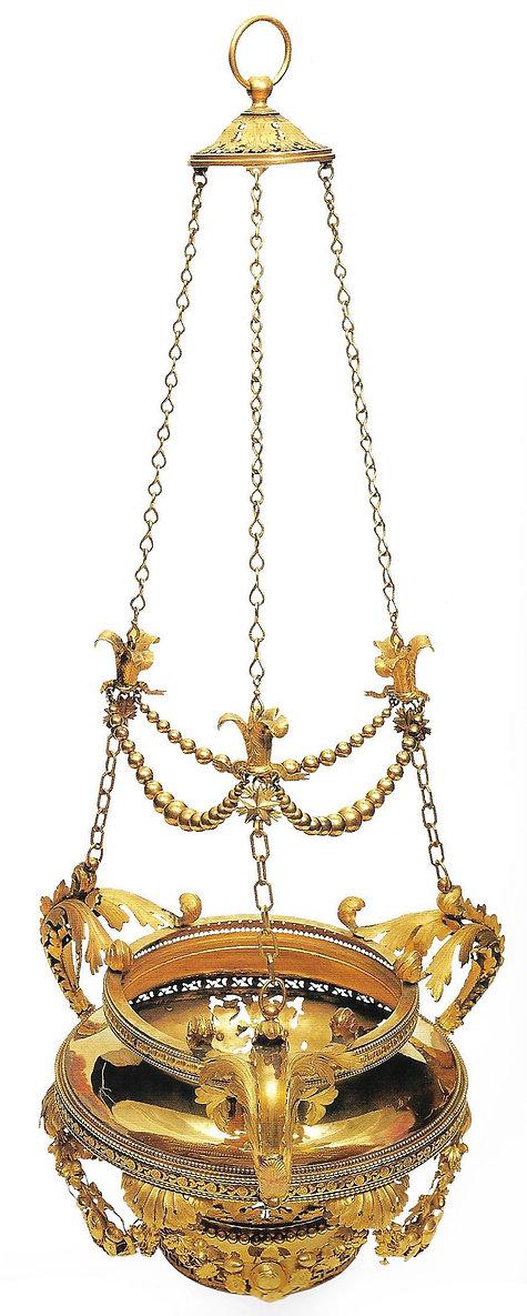 topkapı sarayı eserleri, kandil askısı, altın eşya, osmanlı, Türk sanatı