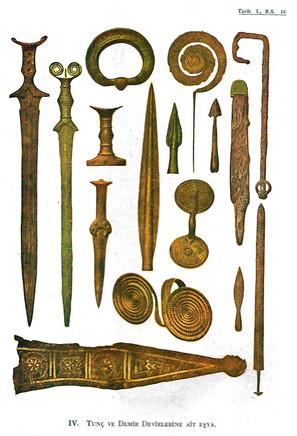Tunç ve Demir Dönemlerine ait eşyalar