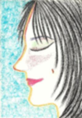 Elçin Öztürkoğlu, otoportre, pastel çizim