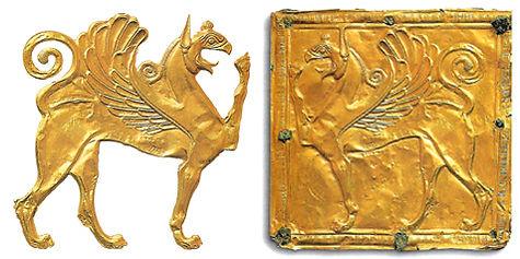 grifon, griffon, altın sanatı, Türk sanatı, kartal kafalı