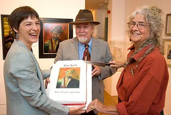 Alison Bevan, John Paddy Browne and Greta Berlin at Penlee House. Photo Phil Monckton.