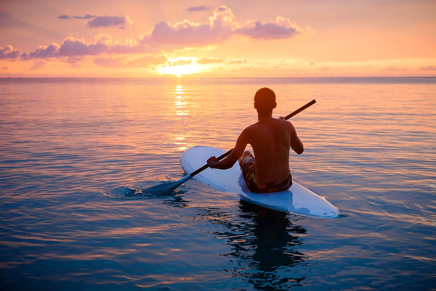 Silhouette of man paddling on paddle boa