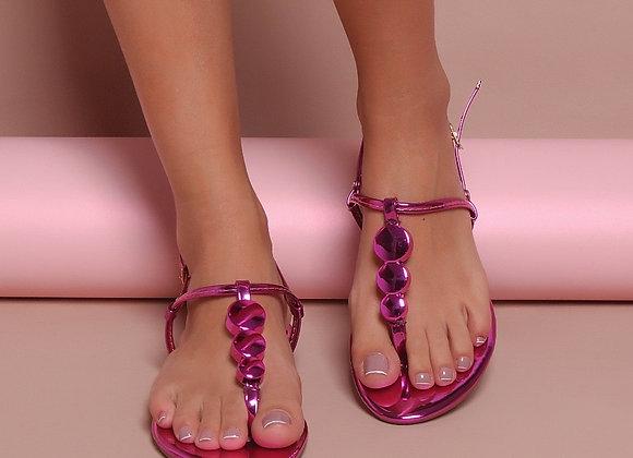 Rasteira bolas metalizada rosa