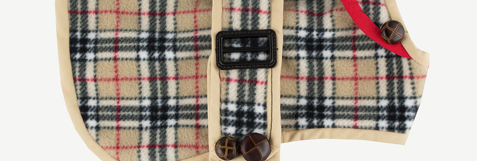 Checked Fleece Dog Coat
