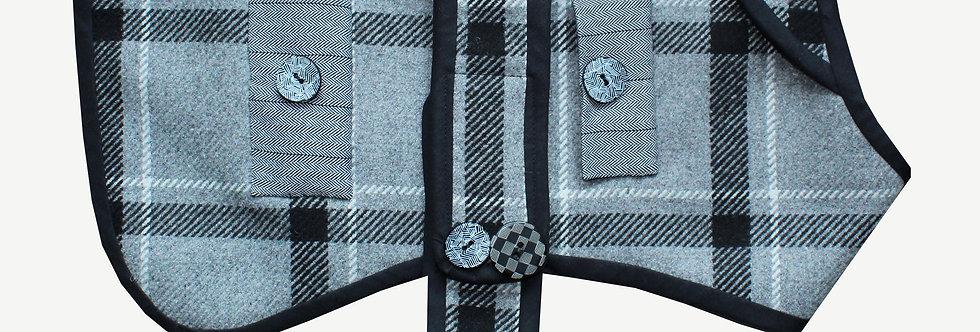 Grey Checked Dog Coat