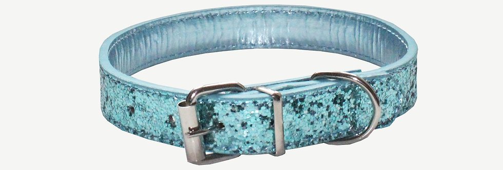 Teal Glitter Dog Collar