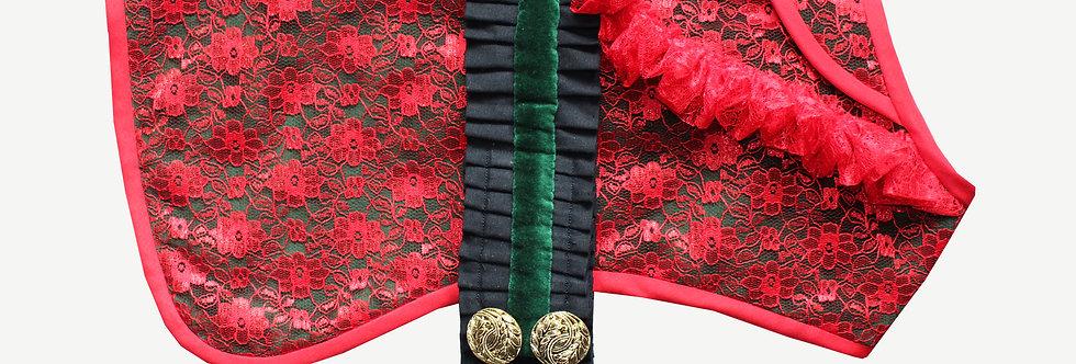 Lace Dog Coat with Pleated Belt