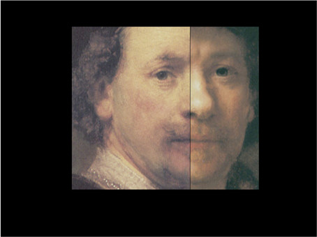 A chimera image of a portions of a pair of Rembrandt self-portraits: one half image is from a genuine self-portrait by Rembrandt (Norton Simon Museum of Fine Art, Pasadena); the other half image is from a portrait attributed to Rembrandt. image prepared by Martin Kemp.