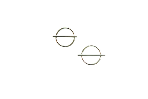 Circle with Horizontal Line Stud Earrings