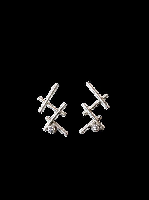 Silver Criss Cross and Gemstone Earrings