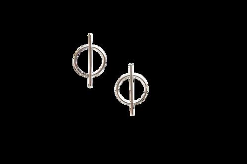 Circle with long Vertical Line Stud Earrings