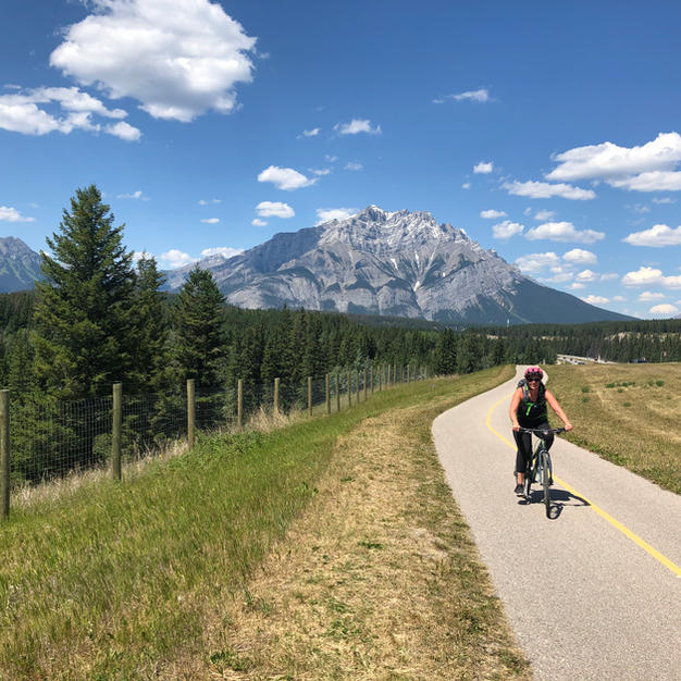 Biking on Legacy Trail Canmore - Banff
