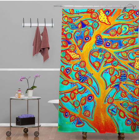 Turquoise Tree & Birds Shower