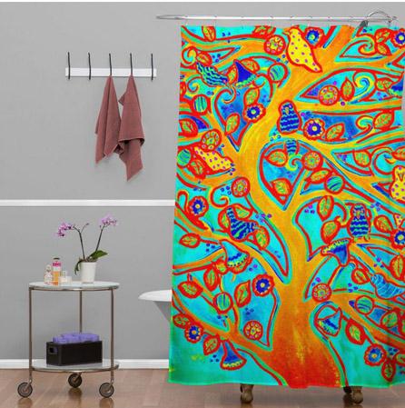 Turquoise Tree & Birds Shower