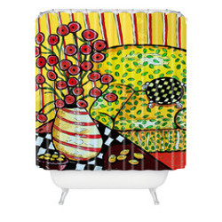 Red Poppies Yellow Chair Shower