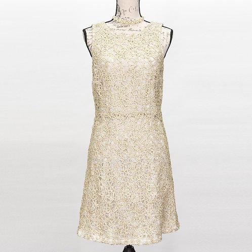 0640 RSVP WHITE & GOLD DRESS