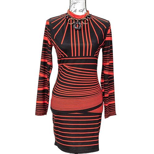 1241 BLACK & RED FAST FASHION DAY DRESS