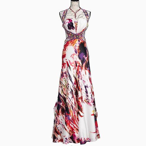 0610 MULTICOLOR SATIN DRESS