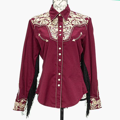 0934 SCULLY SMALL BURGUNDY GOLD COUNTRY SHIRT