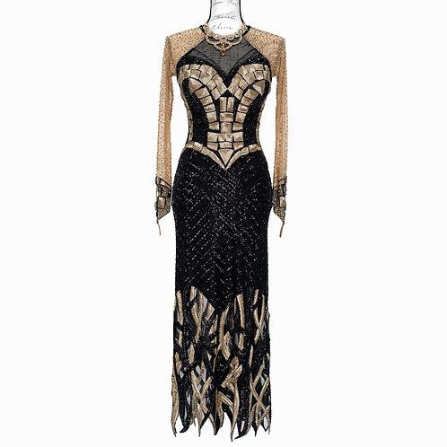 0196 DTS BLACK & GOLD DRESS